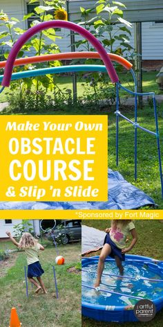 A fun DIY backyard obstacle course kids can make themselves (awesome for playdates and parties!) plus an easy DIY slip 'n slide.