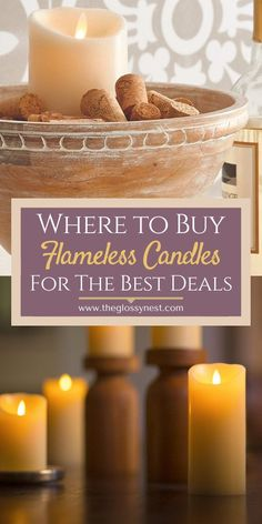 An awesome resource for anyone looking where to buy flameless candles for bathroom, bedroom, dining room, living room, fireplace, mantle, front porches, gardens, decks, patio, house, projects, events, parties & wedding receptions. Covers everywhere from website shops, to dollar stores & Dollar Tree to Pottery Barn & Restoration Hardware. Find Luminara LED candles, creative battery operated candles for decorating, crafts, display & gifts.