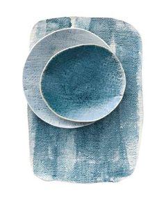 Stone washed denim water coloured ceramics