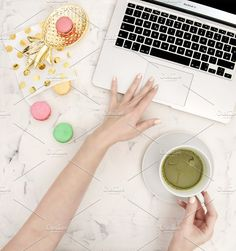 Office desk laptop cookies tea by LiliGraphie on @creativemarket