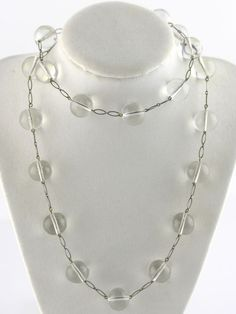 Vintage Antique Art Deco Silver Glass Pools of Light Style Necklace