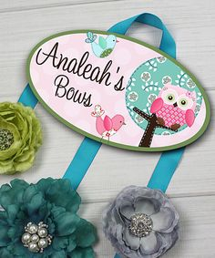 Sweet Little Owl Personalized Hair Bow Holder by Toad and Lily #zulily #zulilyfinds