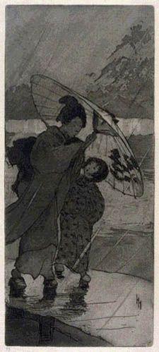 A Rainy Night  by Helen Hyde, 1906