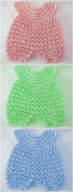Fast And Easy Baby Romper - Crochet Ideas Fast And. - Fast And Easy Baby Romper – Crochet Ideas Fast And Easy Baby Romper - Baby Knitting Patterns, Baby Patterns, Crochet Patterns, Crochet Ideas, Knitting Ideas, Free Knitting, Baby Girl Crochet, Crochet Baby Clothes, Crochet Baby Dresses