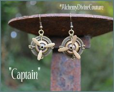 Steampunk Earrings Propellers Compass Bronze by AlchemyDivine https://www.etsy.com/listing/229213589/steampunk-earrings-propellers-compass