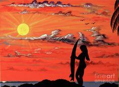 Sunset Surfer Girl Painting  - Sunset Surfer Girl Fine Art Print