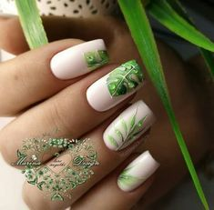 It's important to consider your tropical nail art designs when summer is approaching. Tropical nail art design has a wide range, you can choose bright colors. For example, yellow, purple, orange… Tropical Nail Art, Nagellack Trends, Super Nails, Green Nails, Green Nail Art, Green Art, Nail Decorations, Flower Nails, Cool Nail Art