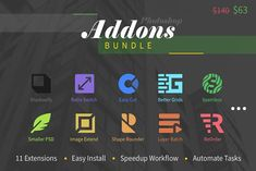 Photoshop Add-Ons Bundle by h3design on @creativemarket Best Photoshop Actions, Photoshop Plugins, Photoshop Ideas, Grid Layouts, Layer Style, Interface Design, Easy Install, Lightroom Presets