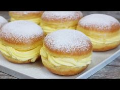 We are making German Cake today. Berliner with Vanilla Pudding. Getting you this … - Kekse Ideen German Cake, Cakes Today, Pudding, Donuts, Waffles, Bakery, Vanilla, Deserts, Food And Drink