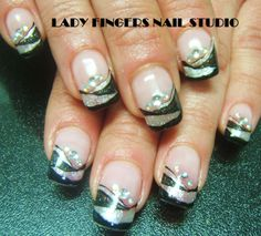 #nail #nails #nailart #nailporn #nailideas #naildesign #trendynails #gelnails #gelpolish #nailpolish #art #gelmanicure #manicure #silver #black #sexynails #bling #glitter #French #frenchmanicure #rhinestones