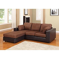 @Overstock - The New York small-space sectional sofa combines a clean track arm design with smooth microfiber upholstery. With a durable wood frame and two-tone finish, this couch will provide comfortable, stylish seating for any room.http://www.overstock.com/Home-Garden/New-York-Brown-Black-Microfiber-Sectional-Chaise-Sofa/6535483/product.html?CID=214117 $644.99