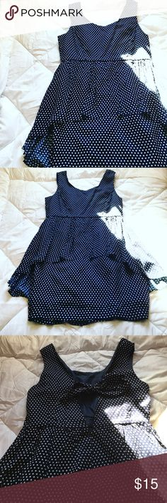 Polka Dot Peplum Dress Forever21 ✨ Never Worn - in Perfect Condition ✨ Navy and White Polka Dot ✨ Slimming Peplum on Front ✨ Tie Back with a Zipper on the Lower Half ✨ The Tie Works Well to Hide Bra Straps Forever 21 Dresses Mini