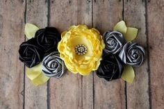 Items similar to Who will it bee Boy or Girl Maternity Sash in Black Gray and Yellow Maternity Sash Bridal Sash Flower Girl Sash Bee Theme on Etsy Handmade Flowers, Diy Flowers, Fabric Flowers, Baby Shower Sash, Grey Baby Shower, Fabric Flower Headbands, Baby Headbands, Maternity Sash, Bee Party