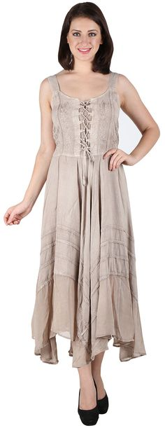 1001-AW womens Stonewashed Rayon Embroidered Long Dress