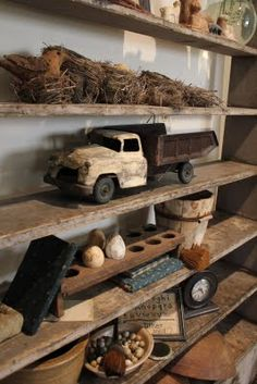 Vintage toy trucks and other items..