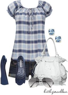 """Summer Blues"" by bitbyacullen ❤ liked on Polyvore"