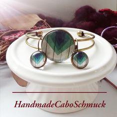 Cabochon Schmuckset Armreif/Armband 25mm und Ohrhänger 12mm Bronze Grün/Blautöne Holzoptik