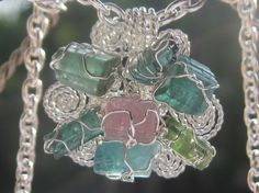 The Tourmalines Flower Pendant - Different Tourmalines Wire Wrapped in Sterling Silver Wire Wrapped Jewelry, Jewelry Box, Jewelry Rings, Jewelery, Fine Jewelry, Unique Jewelry, Flower Pendant, Ring Necklace, Wire Wrapping