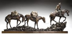 """""""Diamonds in the Rough"""" - this 26""""H x 52""""L x 8""""W bronze sculpture depicts a cowboy on a pack trip with three horse. Jackson Hole art gallery.  #cowboy"""