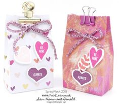 Stampin' Up! #1 Demonstrator Pootles - SpringWatch 2018 - 6 Valentines Love Hearts Boxes from 1 Sheet of DSP!