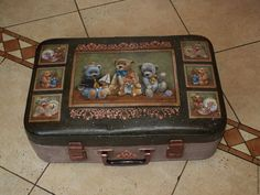 "Купить Чемодан ""Vintage teddy bears "" - чемодан, чемоданчик, винтажный стиль, винтаж"