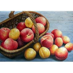 currier_apples-basket-oil-painting- Realistic Oil Painting, Still Life Oil Painting, Apple Baskets, Canvas Art, Peach, Hand Painted, Fruit, Apples, Painted Canvas