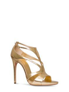 Casadei - Barbarella - 5091N123.ER2BARB815 - Sandalo in pelle laminata tan effetto specchio con cinturino alla caviglia. Tacco ricoperto in pelle. 110 mm con plateau 10 mm. Pelle Laminata Effetto Specchio Made in Italy