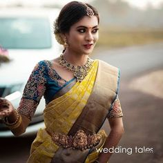 Priyanka my beautiful bride for her muhurtham look 😍 . MUA and hair stylis Wedding Saree Blouse Designs, Pattu Saree Blouse Designs, Half Saree Designs, Fancy Blouse Designs, Saree Wedding, Tamil Wedding, Wedding Wear, Wedding Dresses, Bridal Sarees South Indian