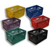 Milk crates by Farm Plast - individually or in lots of 4 or 6, square or rectangular.  Great prices.  Best of all, made in the USA!  See milkcratesdirect.com