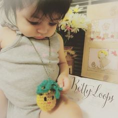 Penny loves her pineapple necklace!  #bettyloops #handmade #customcrochet #crochetaddict #etsy #etsyshop #supportsmallbusiness #shopsmall #etsyusa #etsyforall #etsyfavorites #etsyelite #etsyhunter #etsyspotlight #necklace #amigurumi #pineapplenecklace #crochetpineapple #summer2015