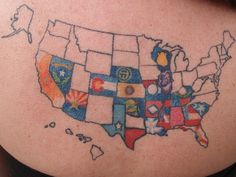 Starts out in black and white outline and then gets filled in with the state's flag or flower as each state is visited. I LOVE this idea.