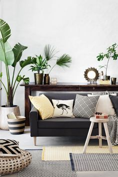 Jute storage basket - Black/Beige/Striped - Home All   H&M GB