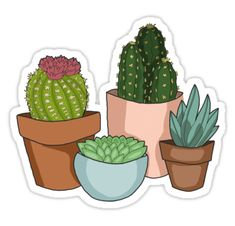 """Happy Succulents "" Stickers by Anna Merrill Stickers Cool, Cactus Stickers, Bubble Stickers, Phone Stickers, Journal Stickers, Printable Stickers, Planner Stickers, Bumper Stickers, Tumblr Sticker"