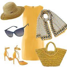 Outfit estivo adatto per una vacanza al mare. Abitino giallo come il sole e  accessori cad5ac2912d