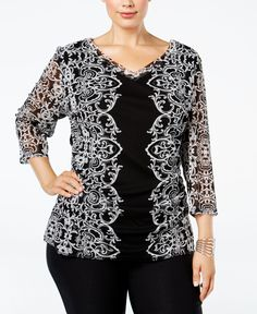 Inc International Concepts Plus Size Printed Mesh Blouse, Only at Macy's