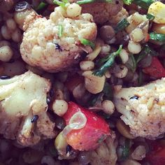 Spiced roasted cauliflower and lentil salad