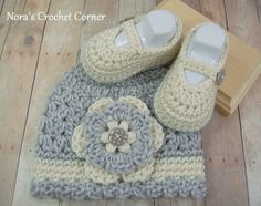 Baby Girl Crochet Hat and Mary Jane Shoes  by NorasCrochetCorner