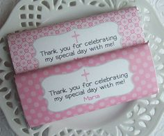 Printable Personalized Pink and Gray First Communion or Baptism Girl Large Candy Bar Wrappers. $4.00, via Etsy.
