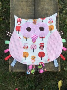 Pink owl security blanket tag blanket lovey by stitchedbysamantha