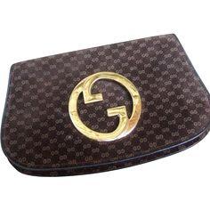 de554a698075 Gucci Brown Suede Logo Blondie Clutch Bag. 1970 s. Gucci Clutch Bag