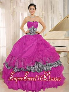 Plus Size Wholesale In Hot Pink Sweetheart Ruffles Sweet 16 Dresses With Zebra and Beading