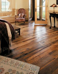 http://www.mountainlumber.com/ … the company's reclaimed Granary Oak flooring is an eye-catching mix of red and white oak, with textured and planed surfaces, unusual grain patterns, saw-tooth etchings and other distinguishing character marks. It makes for a gorgeous rustic chic.