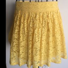 Forever 21 Yellow Floral Lace Medium Women's Skirt made of 49% cotton, 45% Nylon/Polyamide & 6% Rayon. This Spring Summer , SS16 Color forecast and trends state that yellow will be one of the main colors in fashion. This skirt will help you start that trend ... ASAP :) xoxoxo Thank Me Later :) xoxoxo Forever 21 Skirts Mini