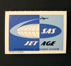 SAS SCANDINAVIAN AIRLINES Airmail Label.