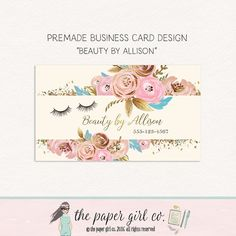 eyelash business card beauty shop business card by ThePaperGirlCo