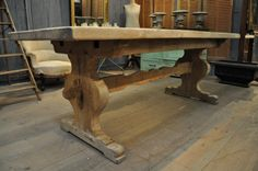 French Vintage Oak Trestle Farm Dining Table with Sculpted Trestle Bar – SOLD |