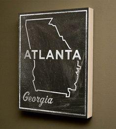 Atlanta Chalkboard Print Wood Art