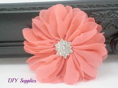 Coral fabric flowers with star rhinestone by diysuppliesandkits, $1.75