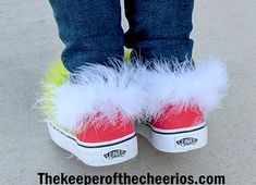 DIY Grinch Shoes - The Keeper of the Cheerios Grinch Shoes, Acrylic Paint Sealer, Grinch Mask, Ugly Sweater Party, Black Sharpie, Fabric Markers, Diy Clothes, Vans, Slip On
