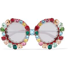 Dolce & Gabbana Crystal-embellished round-frame acetate and metal... (€1.205) ❤ liked on Polyvore featuring accessories, eyewear, sunglasses, red, round metal sunglasses, red heart sunglasses, dolce gabbana sunglasses, red mirror sunglasses and round mirrored sunglasses